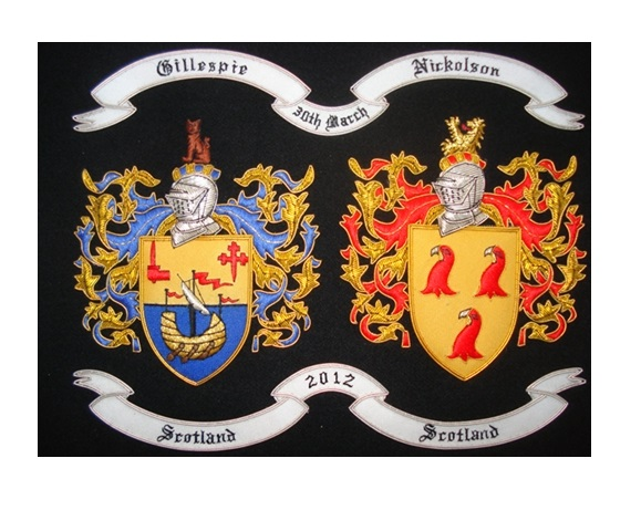 embroidered coat of arms